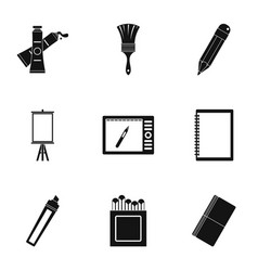designer equipment icons set simple style vector image