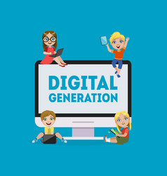 Digital generation banner kids playing games vector