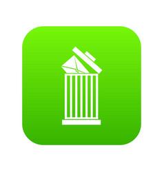 Envelope in trash bin icon digital green vector