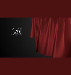 Fabric pattern design red silk on black vector