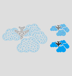 falling airplane in clouds mesh wire frame vector image