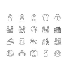Family clothing stores line icons signs vector