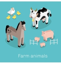 Farm Animal Set Isometric 3d Design vector