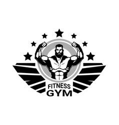 Fitness club or gym logo with strong athletic man vector