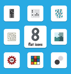 flat icon play set of jigsaw multiplayer bones vector image