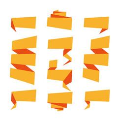 folded ribbon banner set collection orange vector image