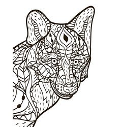 Fox head coloring book for adults vector