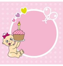 frame baby girl with cake vector image