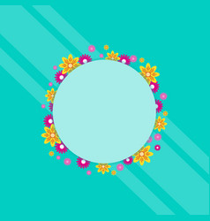frame with flower spring theme art vector image