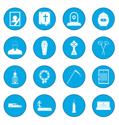 Funeral and burial icon blue vector