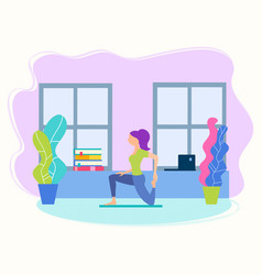 girl in the yoga position at home between study vector image