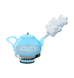 glass kettle with boiling water and steam vector image