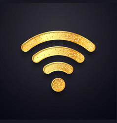 golden wifi sign gold wi fi wireless vector image