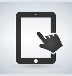 hand and touchscreen on modern digital device vector image