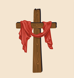 Hand drawn cross of jesus with drapery vector