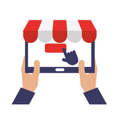 Hands with tablet clicking online shopping vector