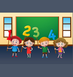 happy children and numbers in classroom vector image