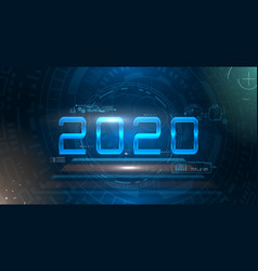 happy new 2020 year futuristic glowing festive vector image