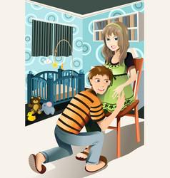 happy pregnant couple vector image