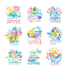 Happy summer logo template original design set vector