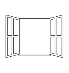 Icon sign open window outline open window frame vector