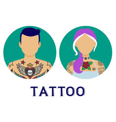 icons people with tattoo man and woman vector image