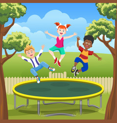Jumping kids on trampoline in backyard vector
