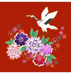 Kimono decorative motif with flowers and crane vector