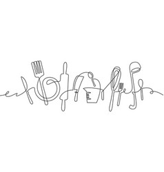 kitchen tools continuous one line drawing vector image