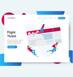landing page template flight ticket concept vector image