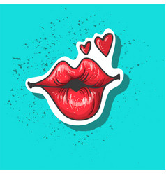 lips kiss patch sticker isolated on blue vector image