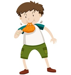 Little boy eating chicken vector image