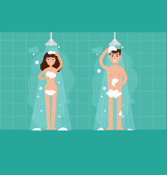 man and woman shower in bathroom character in vector image