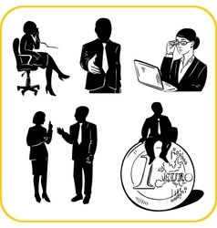 Managers and office set vector