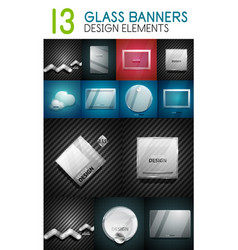 Mega collection of glass glossy realistic vector