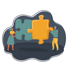 Mini people with big puzzles vector