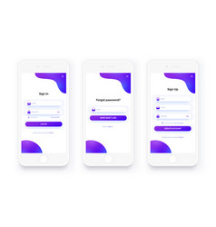 mobile ui kit sign up form sign in page set vector image