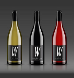 Mockup wine bottle design vector