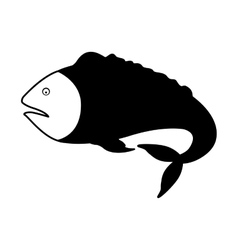 Monochrome silhouette with sea fish with tail down vector