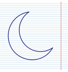moon sign navy line icon on vector image