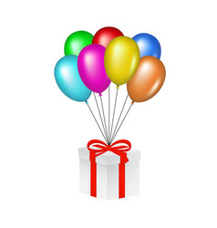 Multicolored glossy balloons lifting a gift box vector