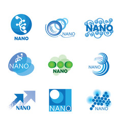 Nanotechnology set of logos vector