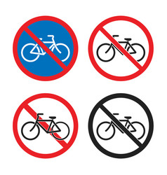 no bicycle traffic sign cycling prohibited area vector image