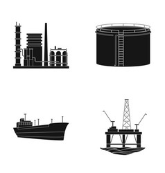 oil refinery tank tanker tower oil set vector image