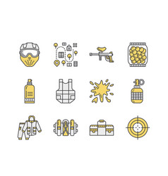 Paintball game line icons outdoor sport equipment vector