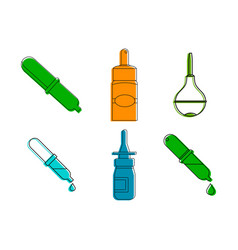pipette icon set color outline style vector image