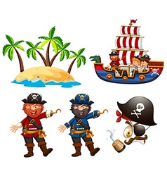 Pirates and children on the ship vector