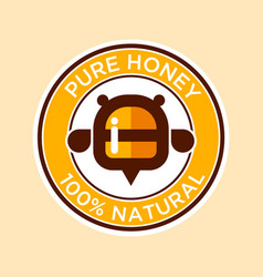 Pure honey bee label vector