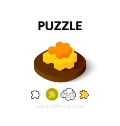 Puzzle icon in different style vector