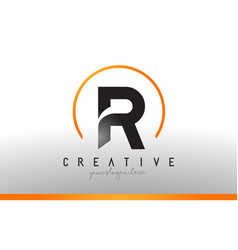 R letter logo design with black orange color cool vector